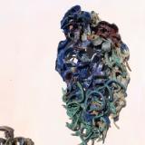 blue relief ceramic sculpture