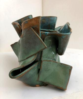 Green & blue vessel for dancer