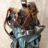 Vessel with handles, blue and amber
