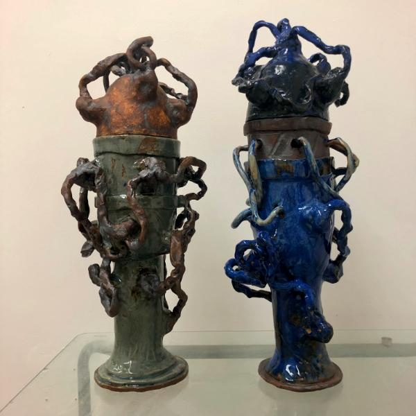 pair of vessels, oxides and glazes